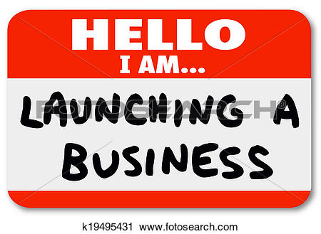 Clipart of Launching a Business Name Tag Sticker New Company Start.