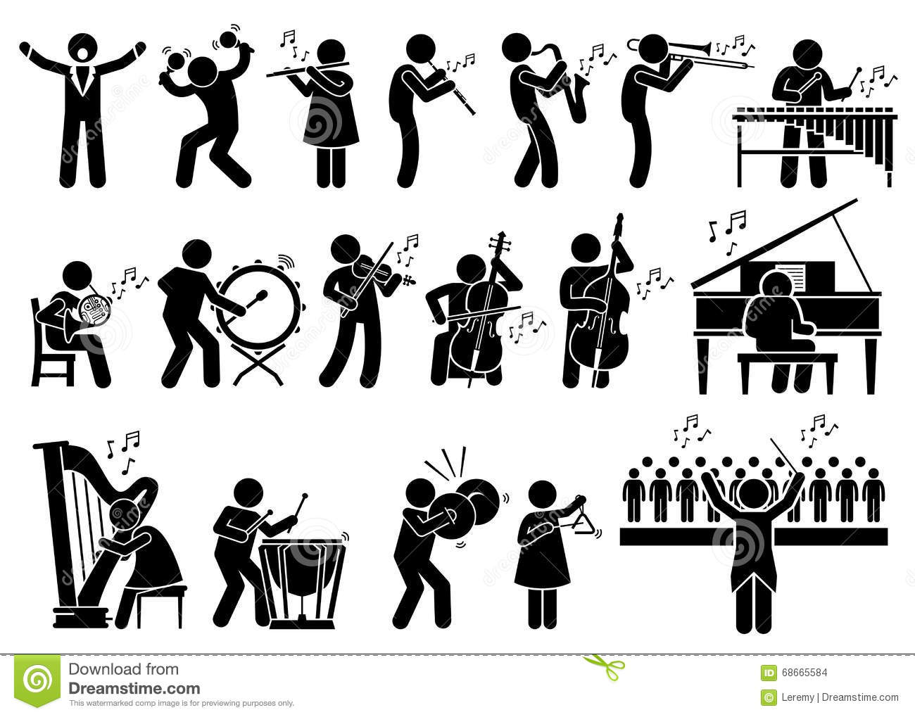 Orchestra Symphony Musicians With Musical Instruments Clipart.