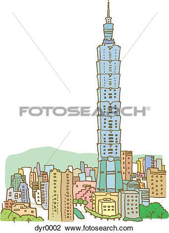 Clip Art of A tall building: Taipei 101, Taipei dyr0002.