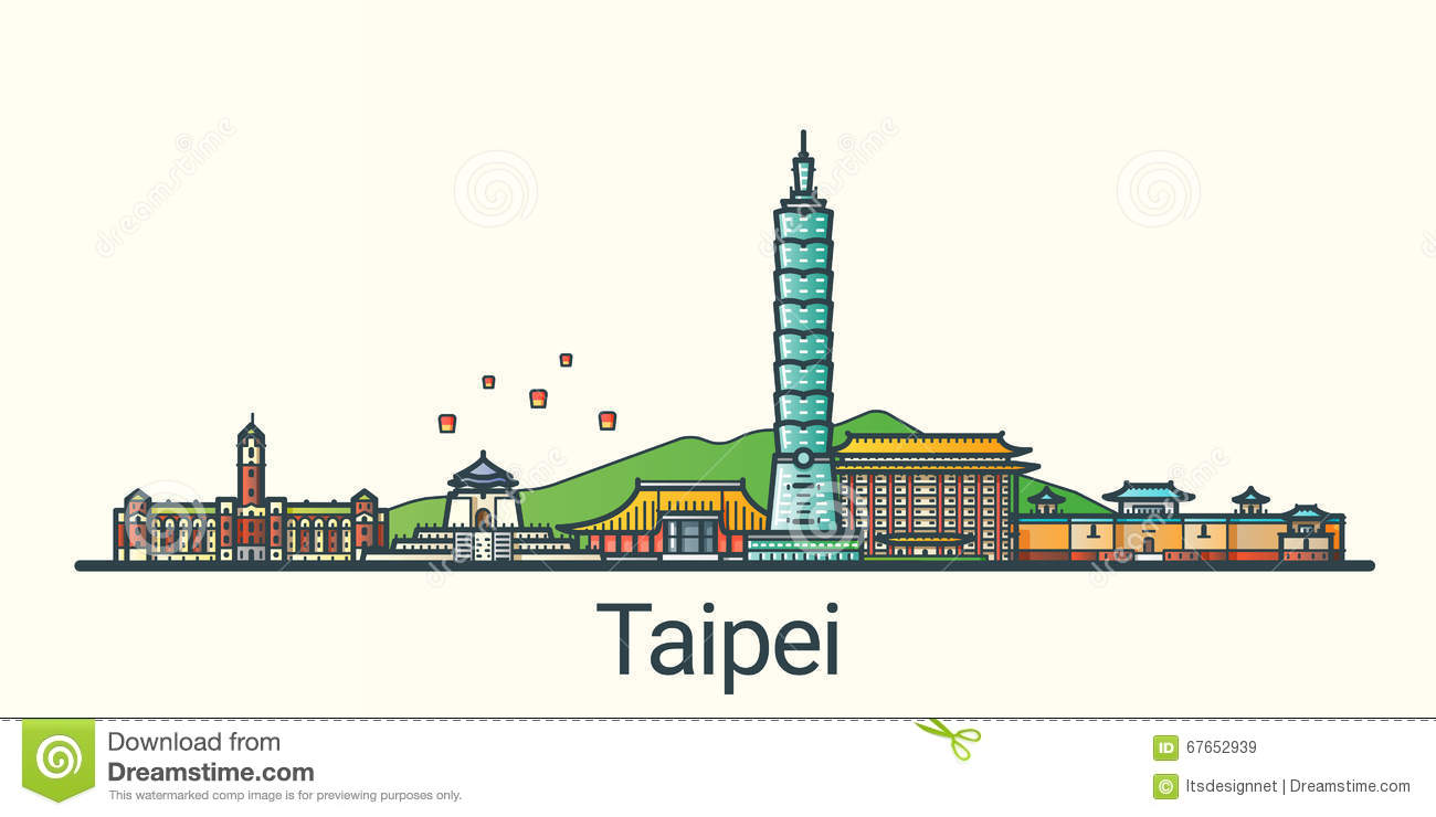 Flat Line Taipei Banner Stock Vector.