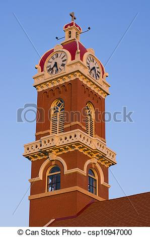 Stock Photography of Cathedral Tower in New Ulm.