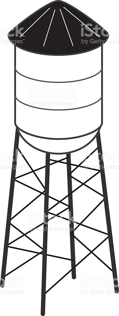 Black And White Water Tower stock vector art 500275279.