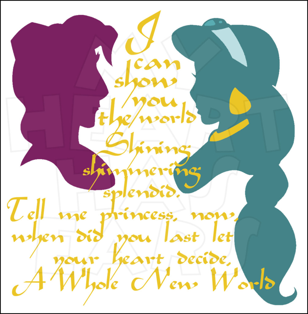 Jasmine and Aladdin Silhouettes A whole new world INSTANT DOWNLOAD.
