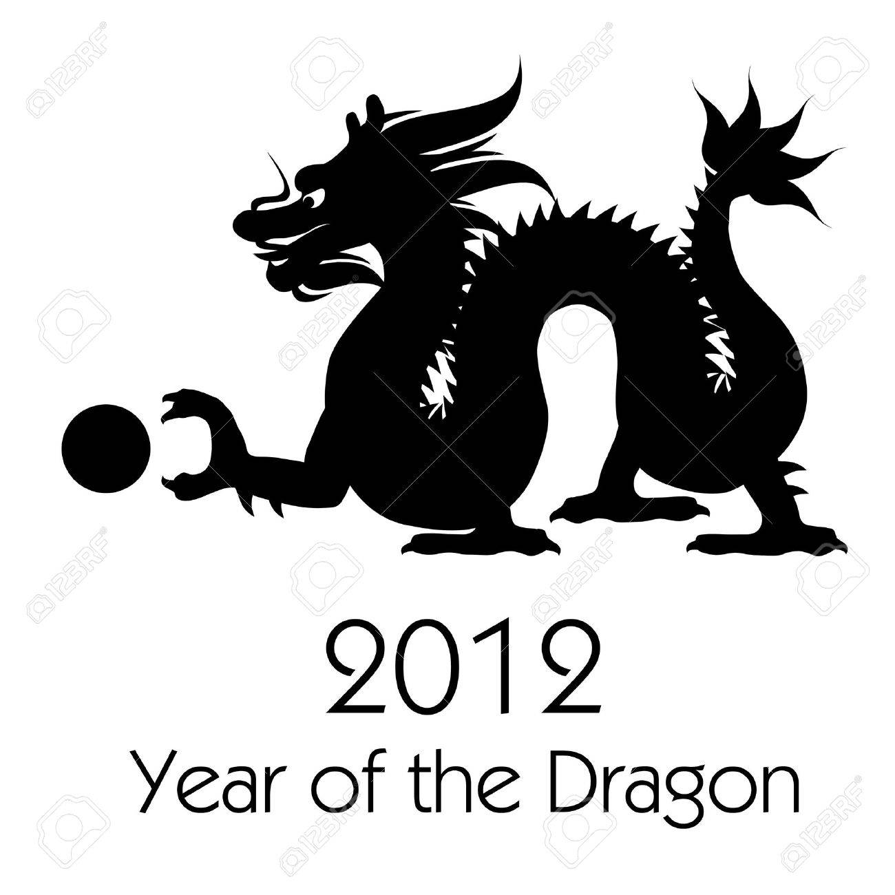 Chinese New Year of the Dragon 2012 Black White Clip Art.
