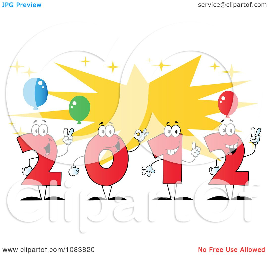 Clipart Red 2012 New Year Characters With A Burst And Party.