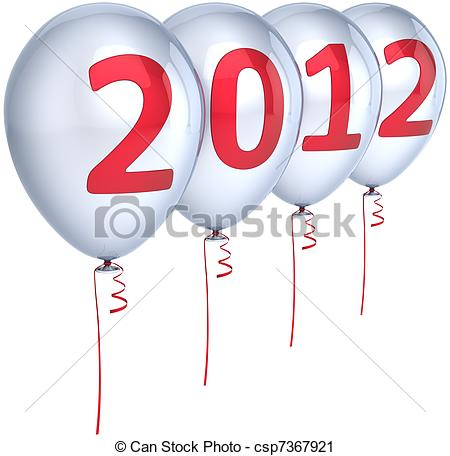 New Year 2012 party balloons white.