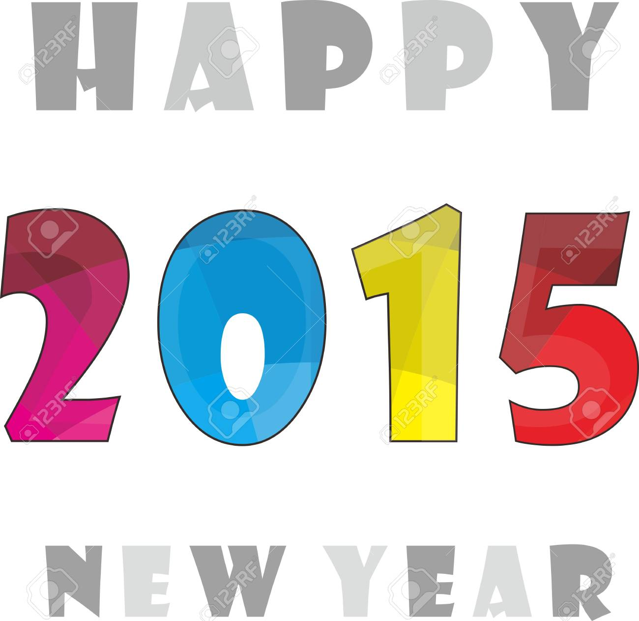 Simple Colorfull Happy New Year 2015 Clipart.
