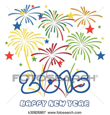 Happy New Year 2016 with fireworks Clip Art.