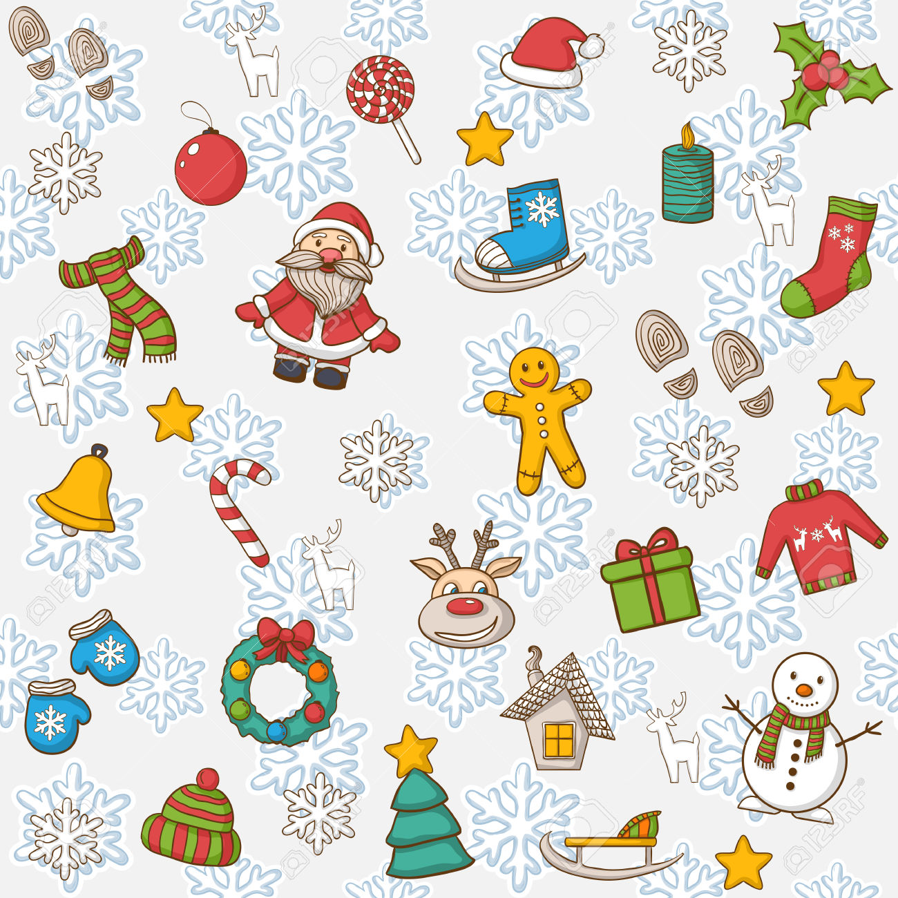 Vector Happy New Year And Merry Christmas Pattern,with Santa.