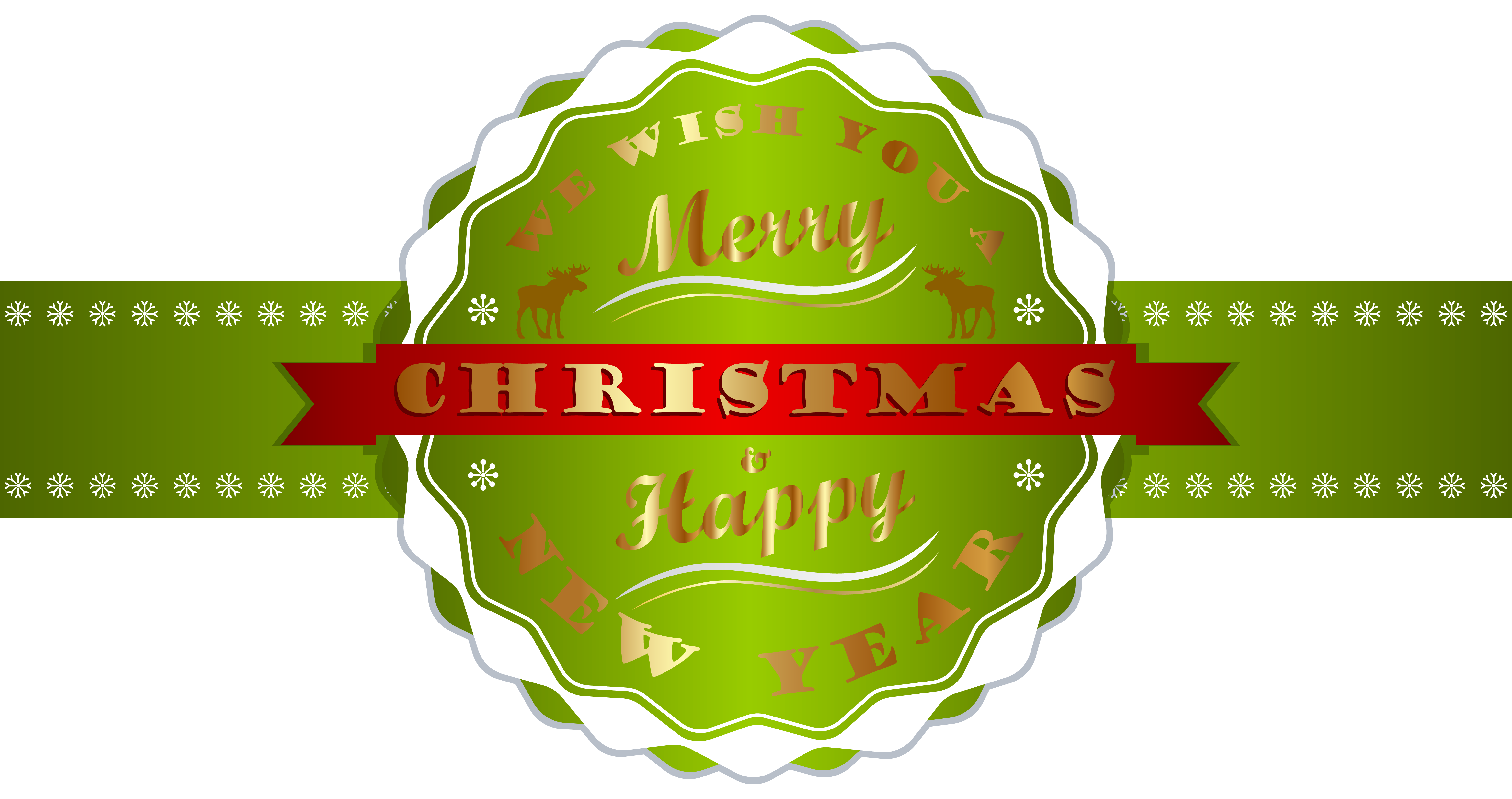 Merry Christmas and Happy New Year Label PNG Clipart Image.