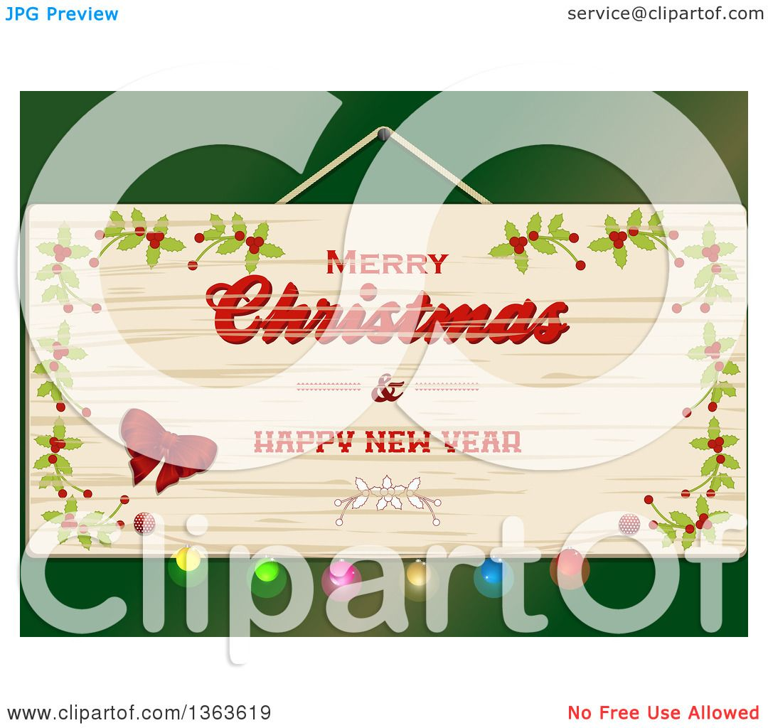 Clipart of a Wooden Merry Christmas and Happy New Year Sign over.