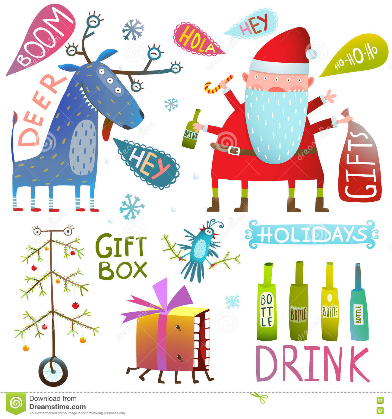 Happy New Year Merry Christmas Clip Art Collection With Deer Santa.