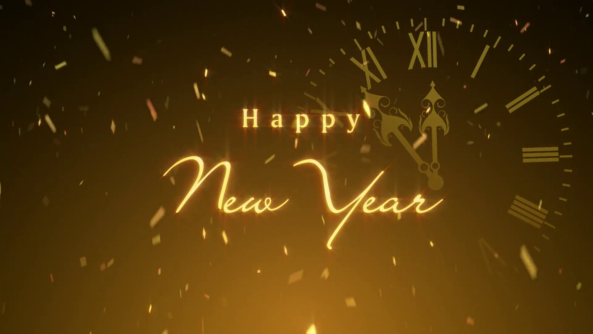 Happy New Year Background with Clock.