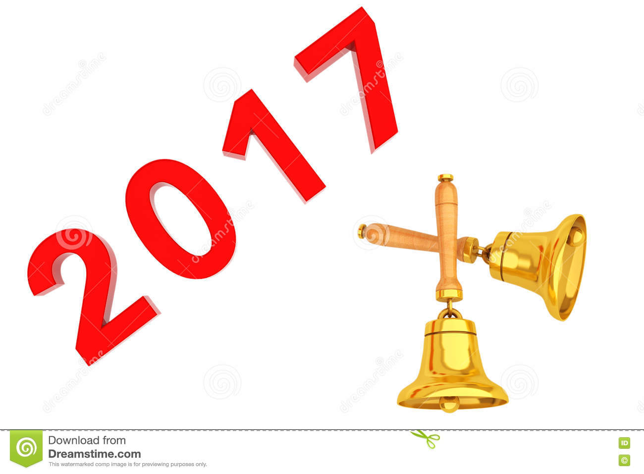 New Year 2017 Sign With Golden Bells. 3d Rendering Stock.