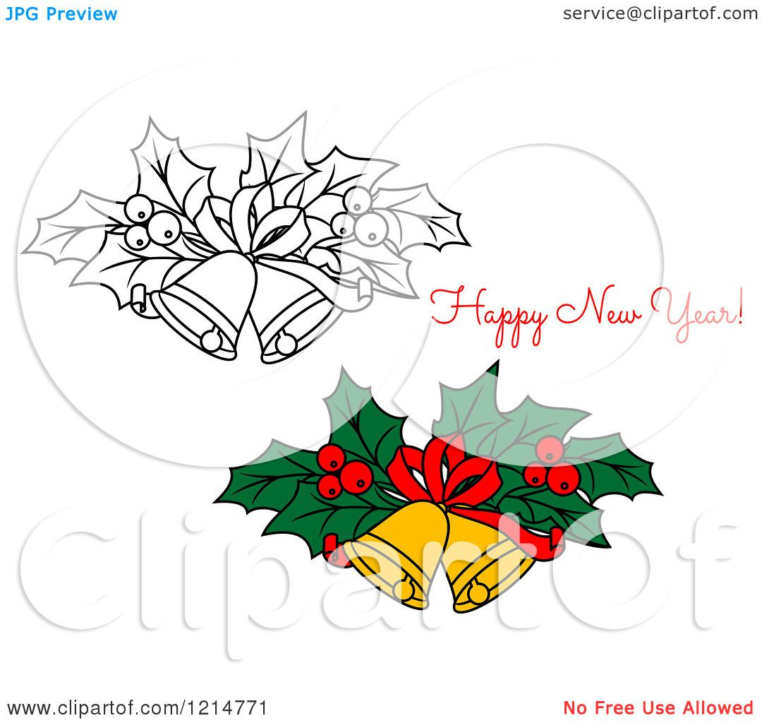 Clipart of a Happy New Year Greeting and Bells with Holly.