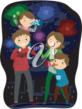 Illustration of a Family Celebrating the Coming of the New.