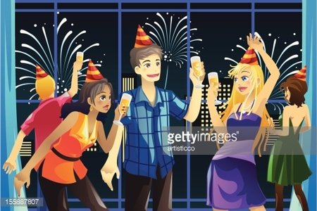 New Year celebration party Clipart Image.