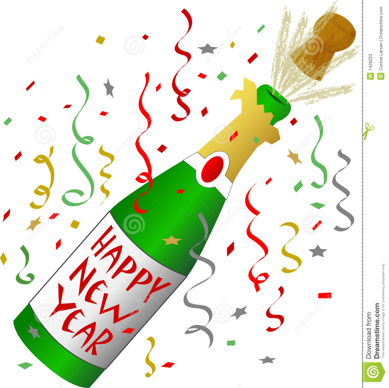 Happy new year champagne clipart.