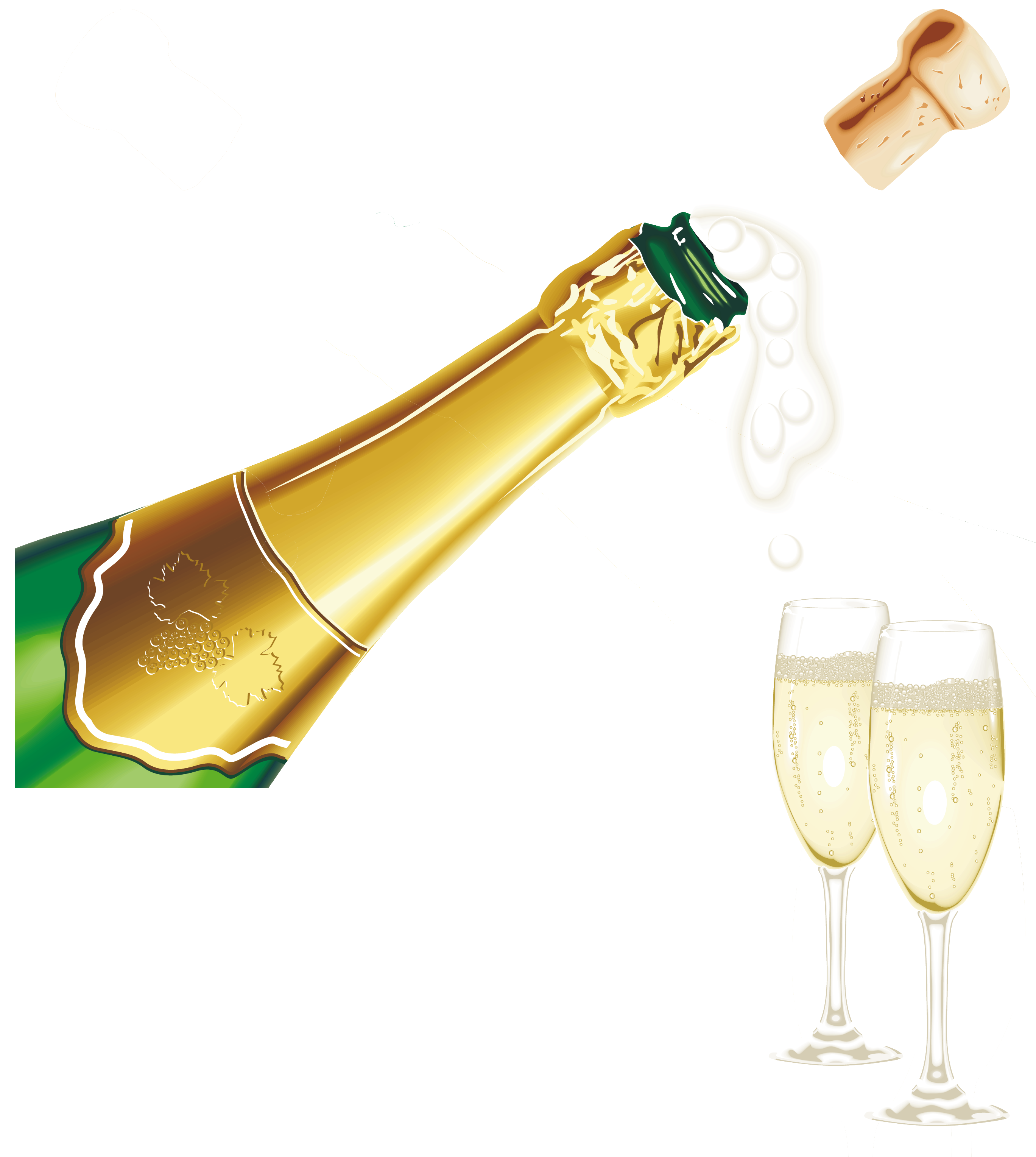 New Year Champagne with Glasses PNG Clipart Picture.