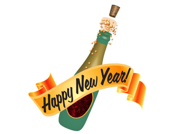 Champagne Bottles for Celebration Free Vector.