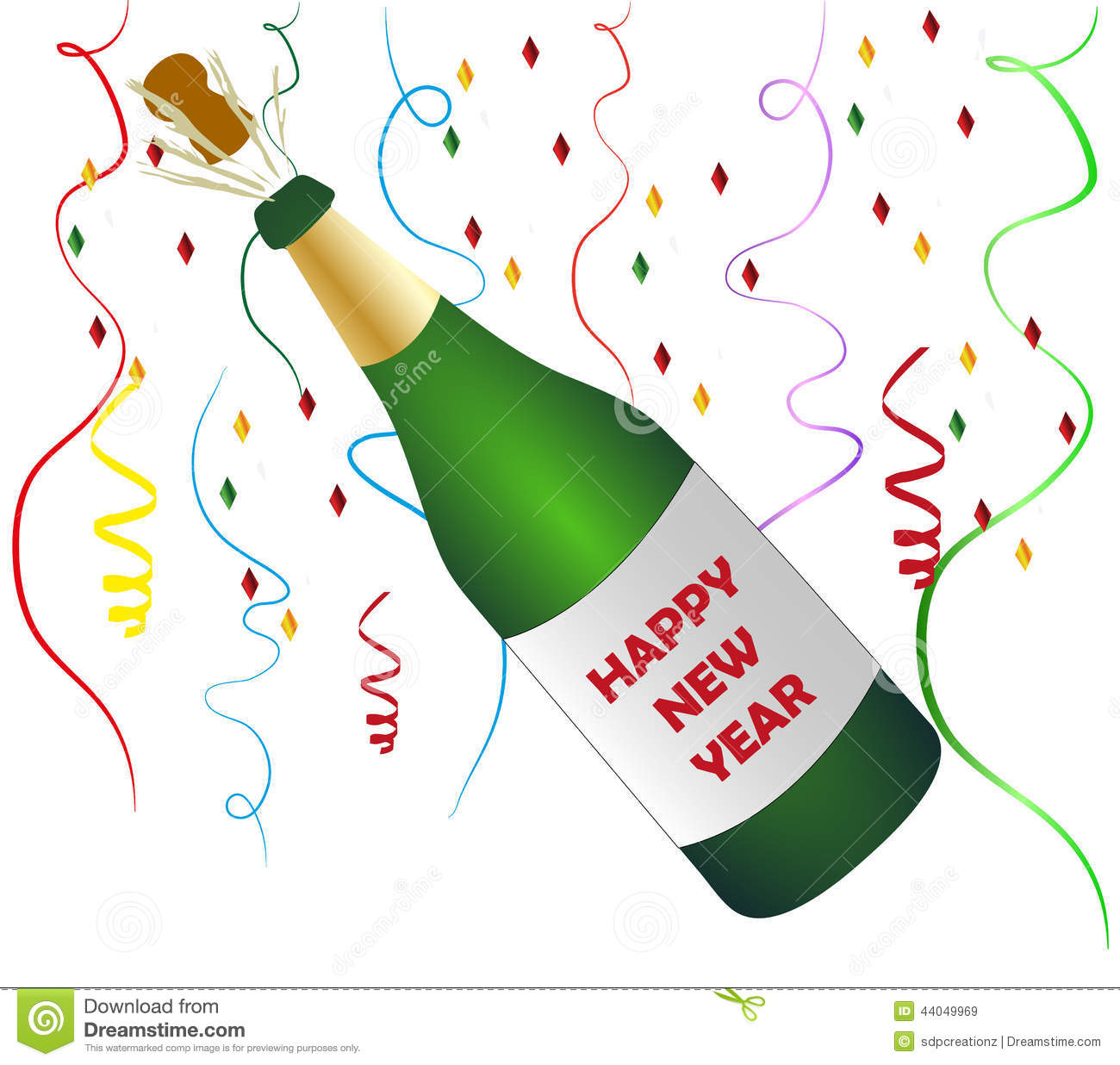 Happy New Year Champagne Stock Illustration.