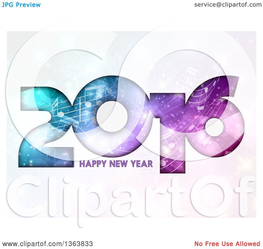 Clipart of a Happy New Year 2016 Greeting with Gradient Colors and.