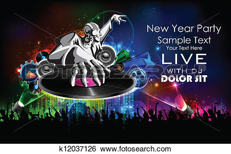 Clip Art of Disco Jockey playing music on New Year Party k12037126.