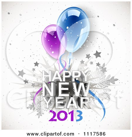 Clipart of Happy New Year 2014 Text with Snowflakes Stars and.