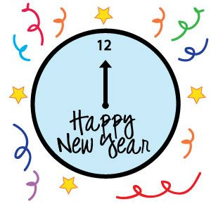 Free New Years Clock Clipart!.