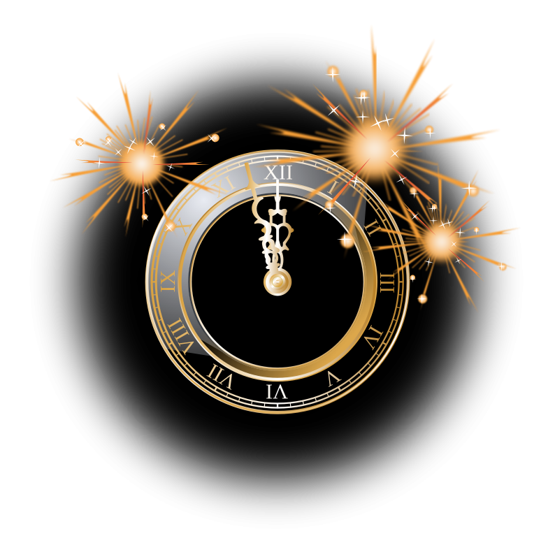 Free Clipart: New Year Clock.
