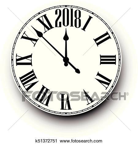 2018 New Year round clock. Clipart.