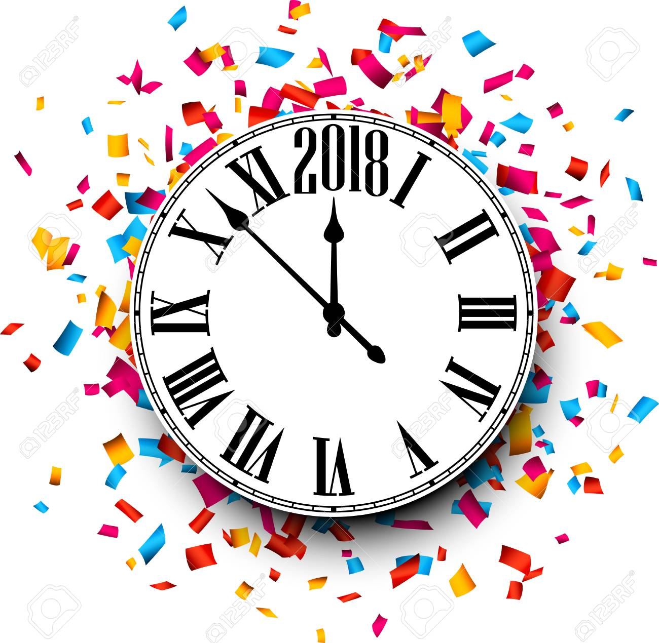 2018 New Year clock with colorful confetti. Vector paper illustration..