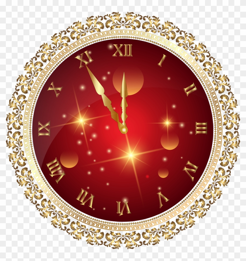 Red New Year's Clock Png Transparent Clip Art Image.