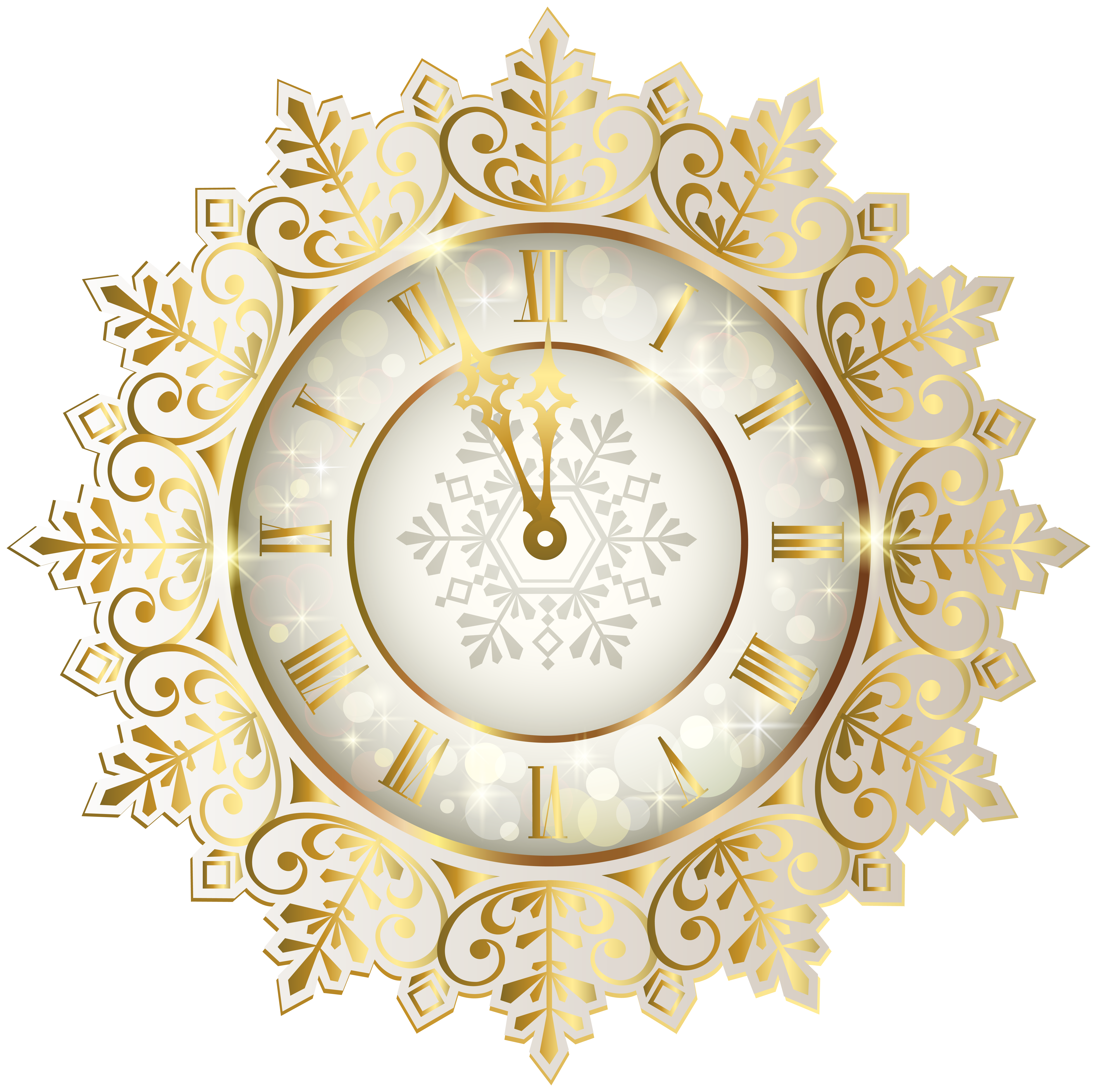 Gold New Year Clock PNG Clipart Image.