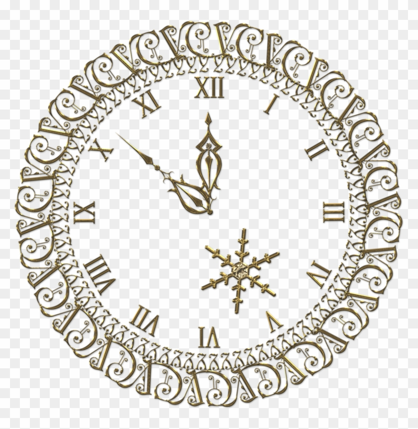 New Year Png Gold Clock Clipart.