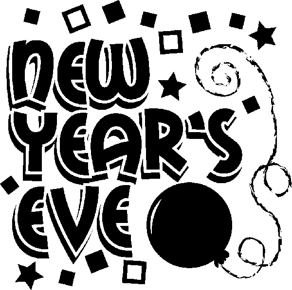 New Year's Eve Black And White Clipart.