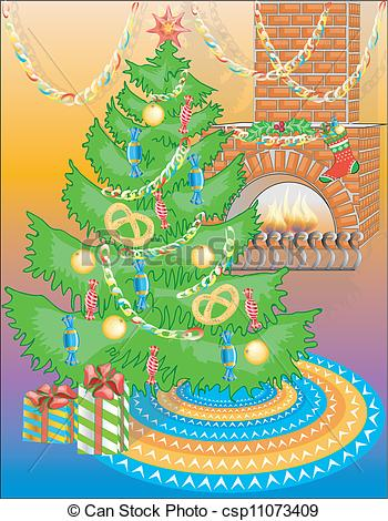 Vector Clipart of New Year tree and fireplace.