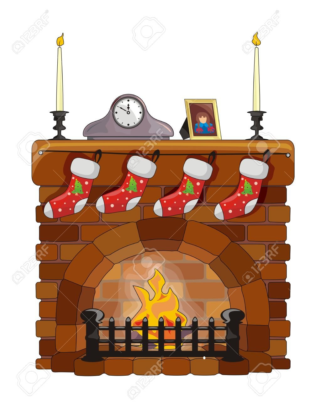Object Fireplace On Christmas And New Year Royalty Free Cliparts.