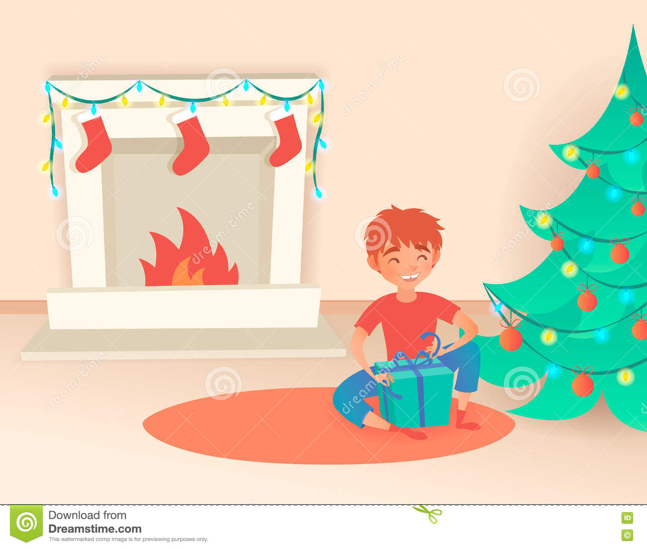Boy With Gift. Christmas Or New Year. Near The Decorated Tree And.
