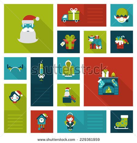 Flat Christmas And New Year Icons. Santa, Elf, Deer, Angel.