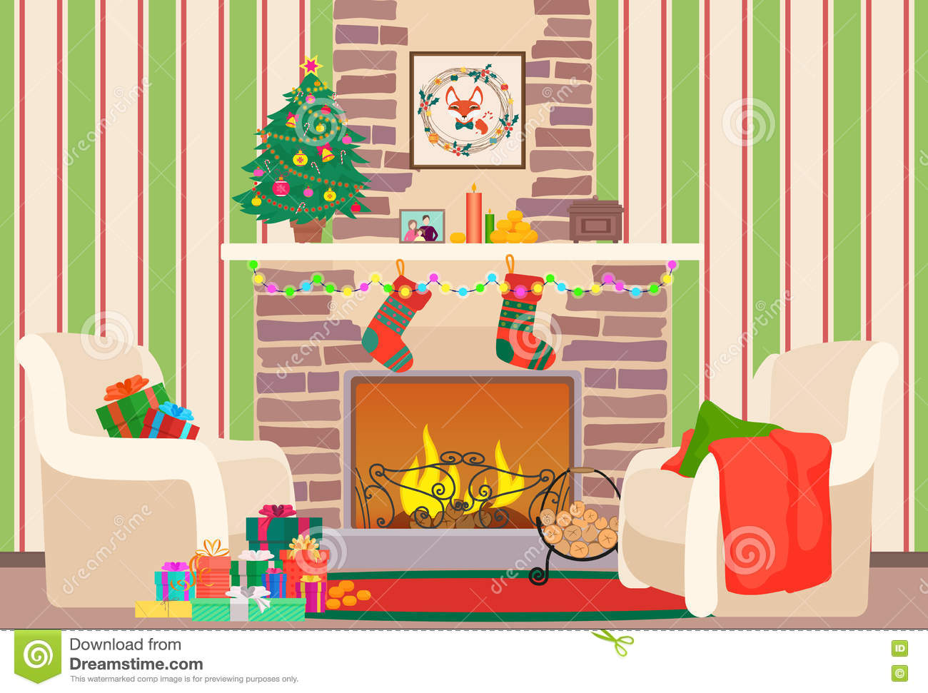 Christmas Livingroom Flat Interior Vector Illustration. Christmas.