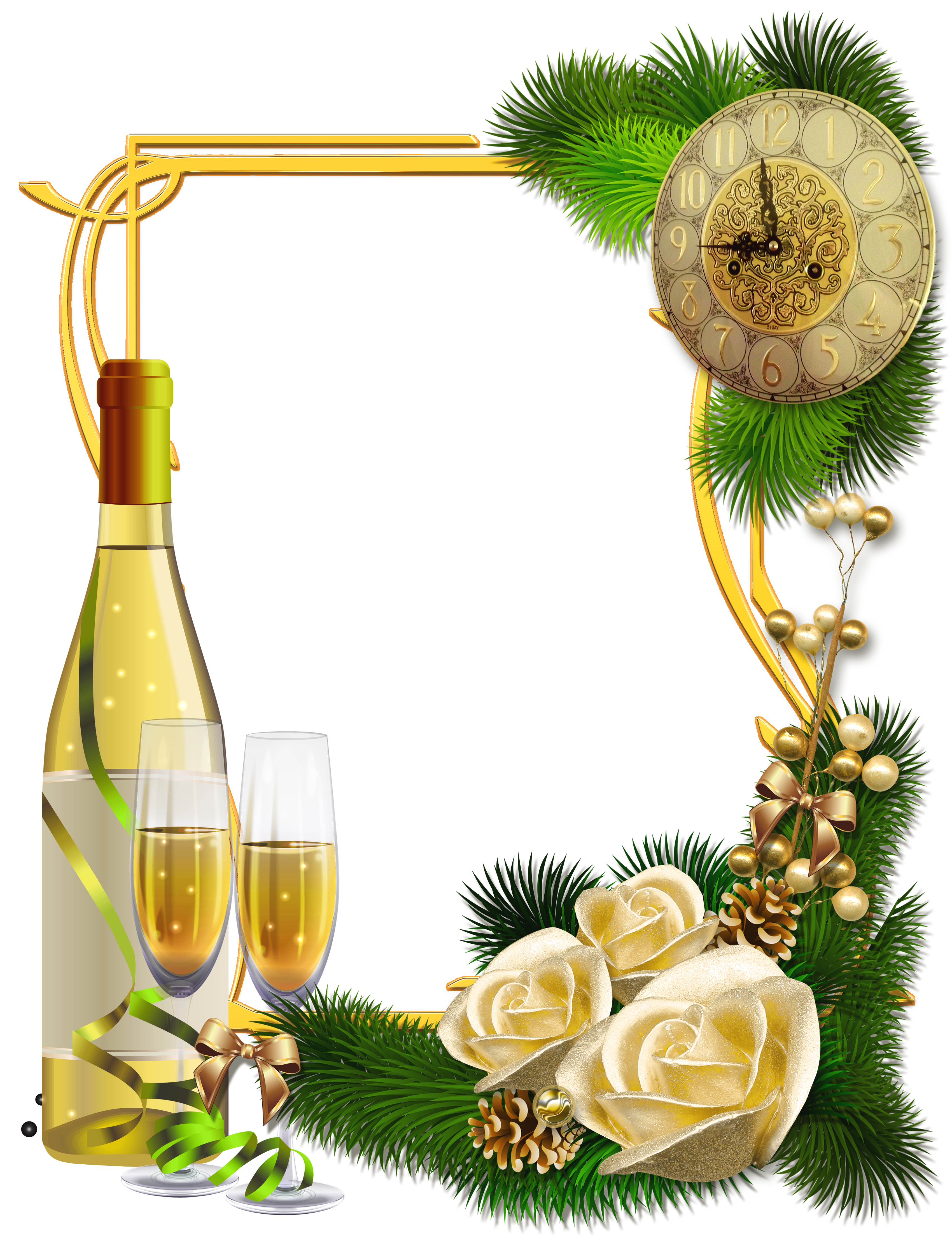 New Year PNG Photo Frame with Champagne.