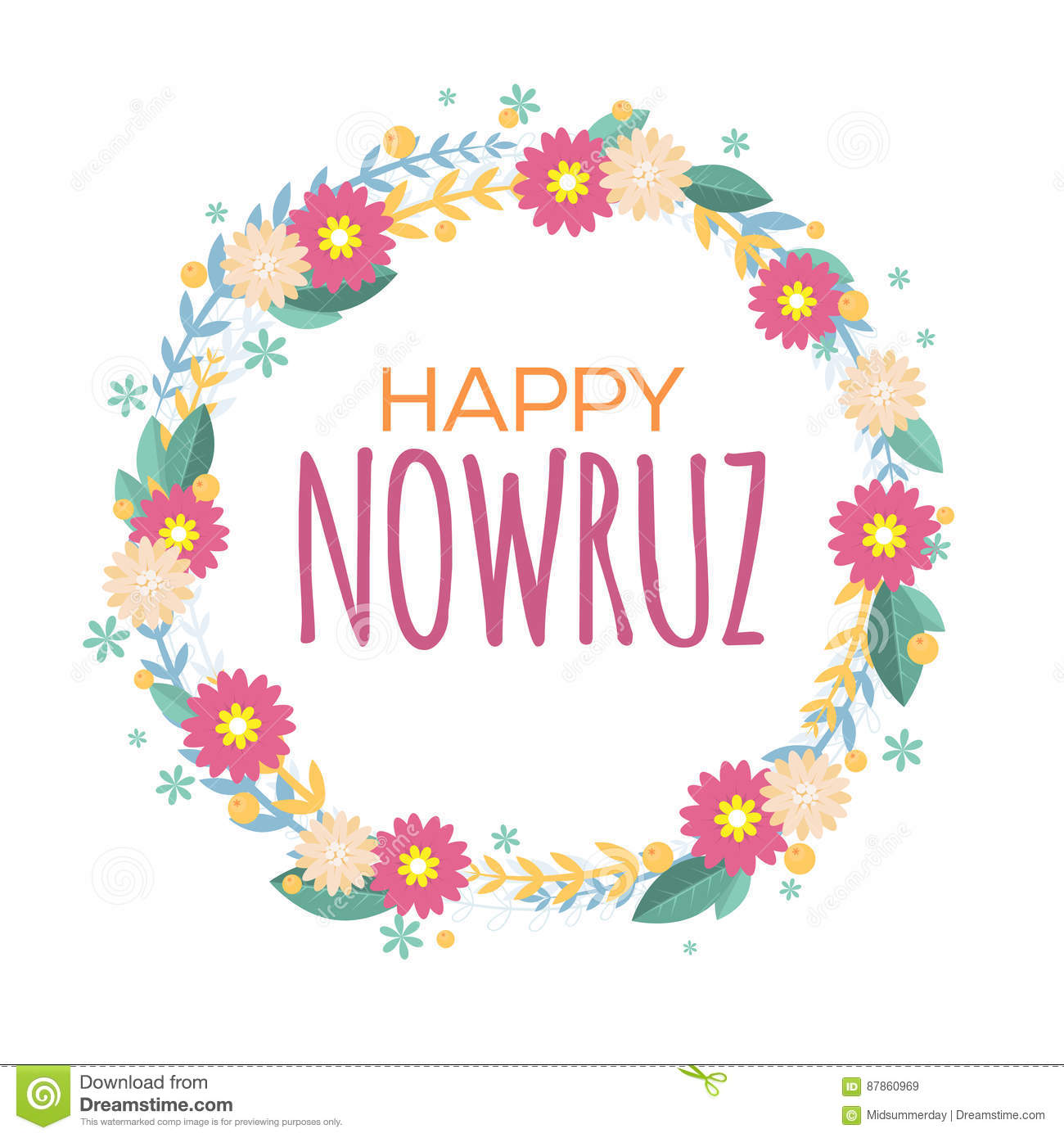 Happy Nowruz Greeting Card With Flowers And Leaves. Iranian.