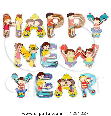 Clipart of Construction Kids Building and Painting a Wooden Happy.