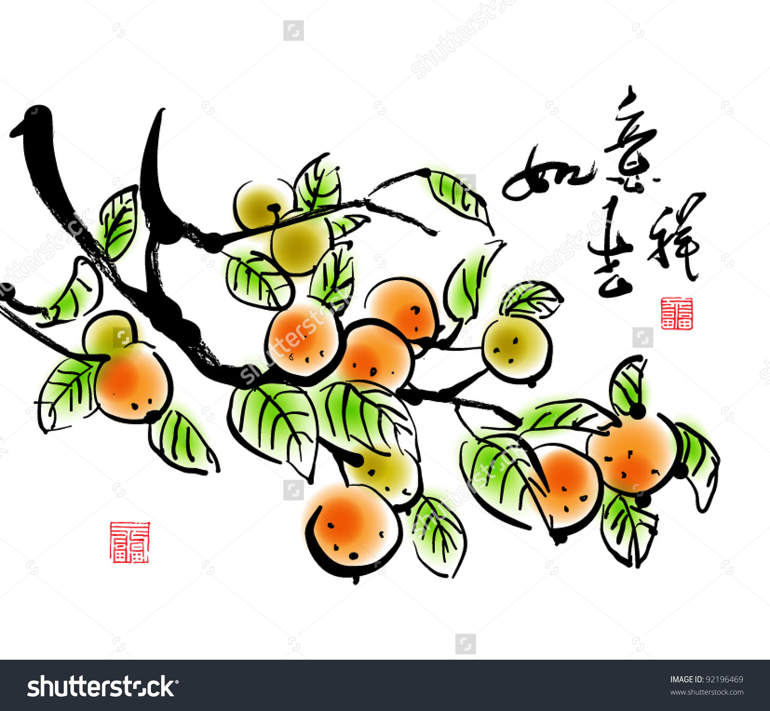Vector Chinese New Year Ink Painting Stock Vector 92196469.
