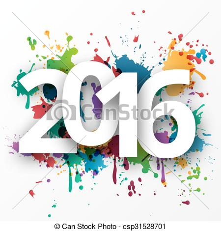Vector Clipart of Happy 2015 new year with spray paint..