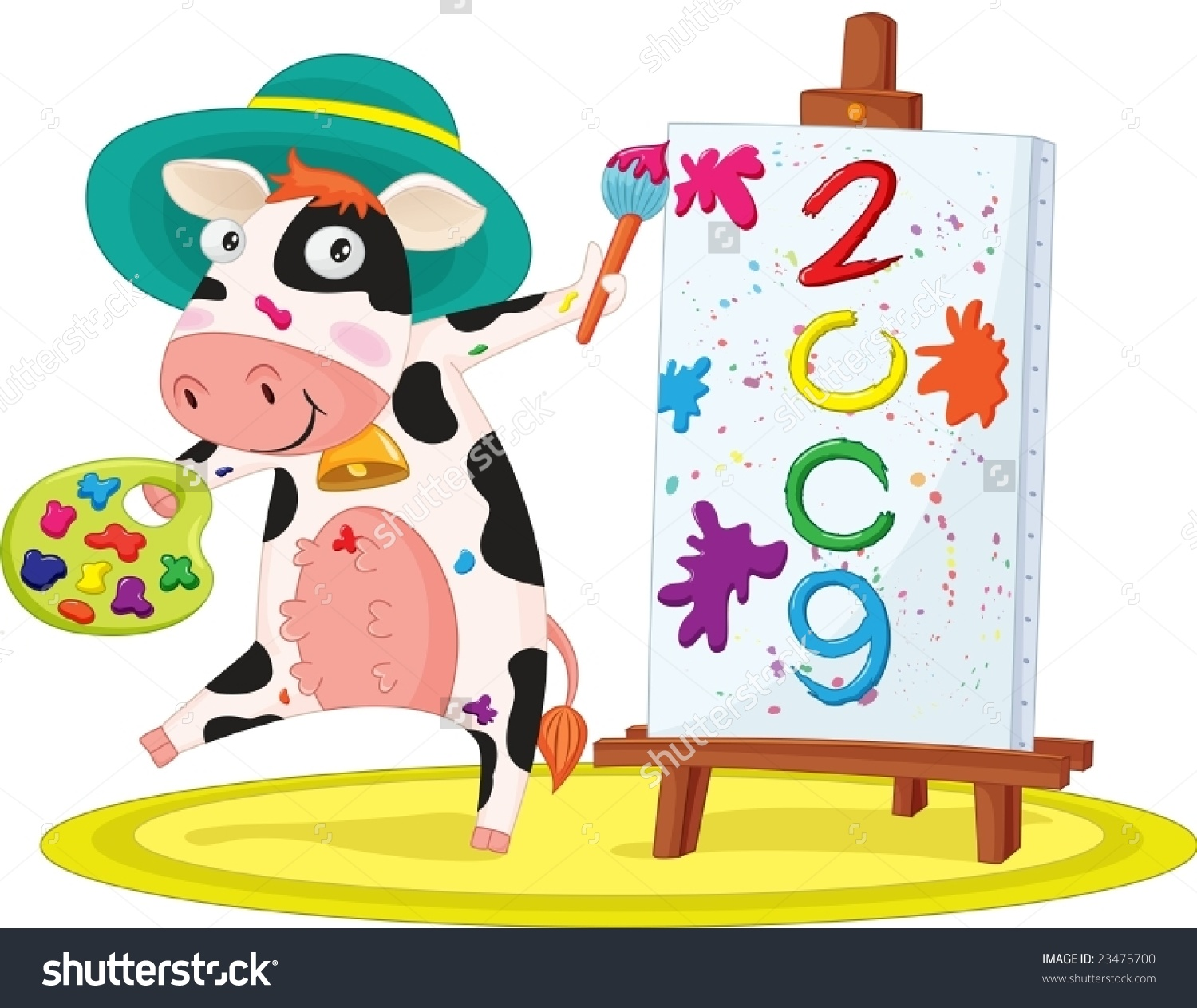 Illustration Of Cow Painting Happy New Year.