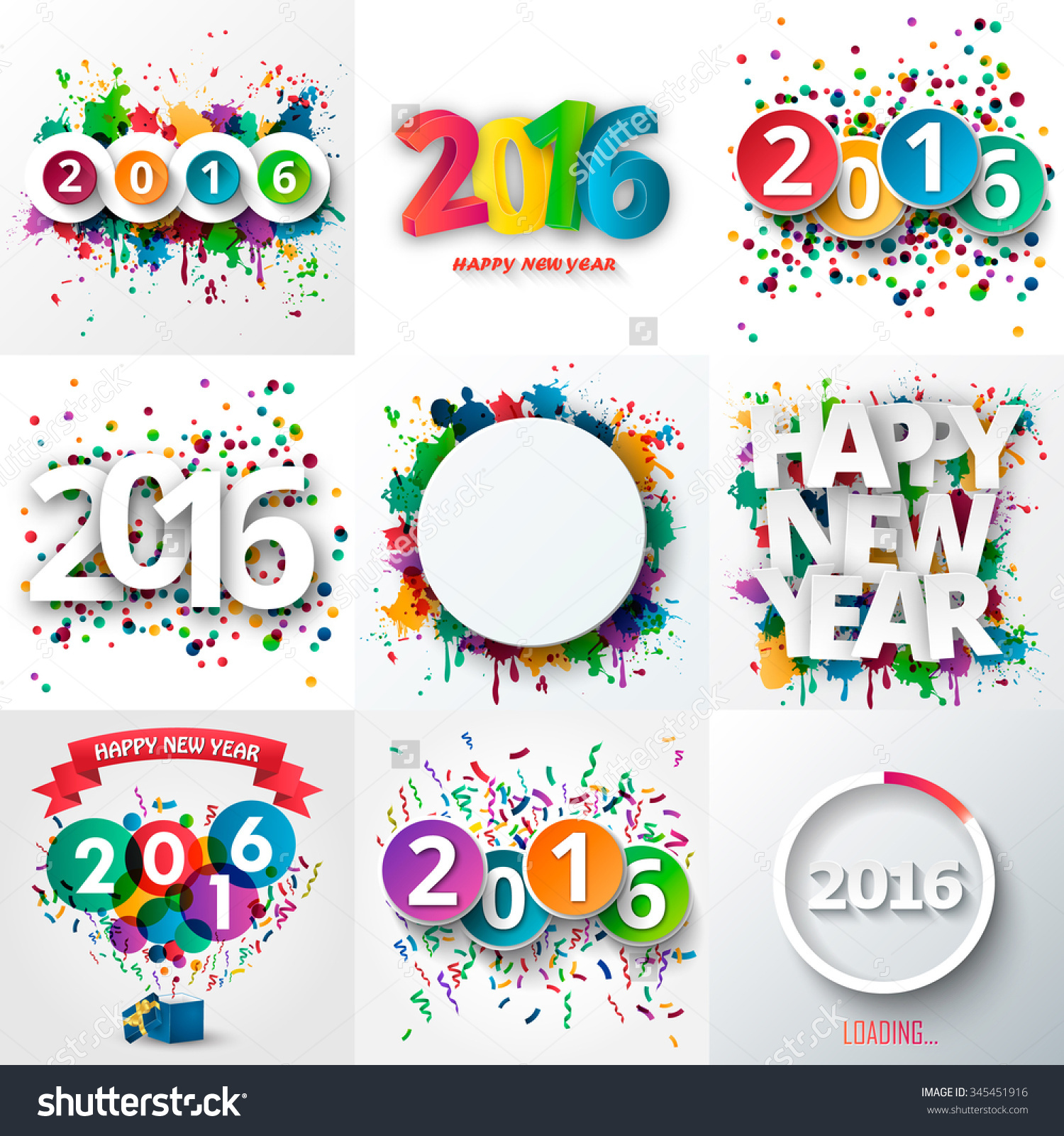Big Set Of Happy New Year Celebration 2016 With Colorful Spray.
