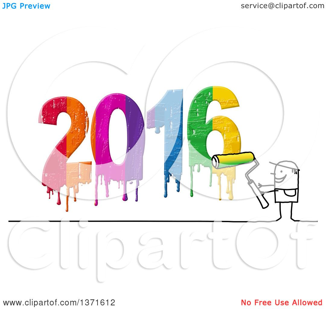 Clipart of a Stick Man Painting New Year 2016.