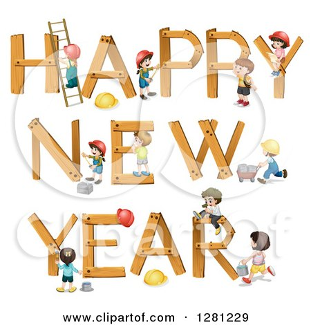 Clipart of Happy New Year Children Forming Letters.